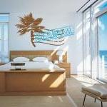 Palm Tree Sea Mail Stamp Vinyl Wall..
