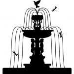Wall Decal Fountain with Statues Dr..