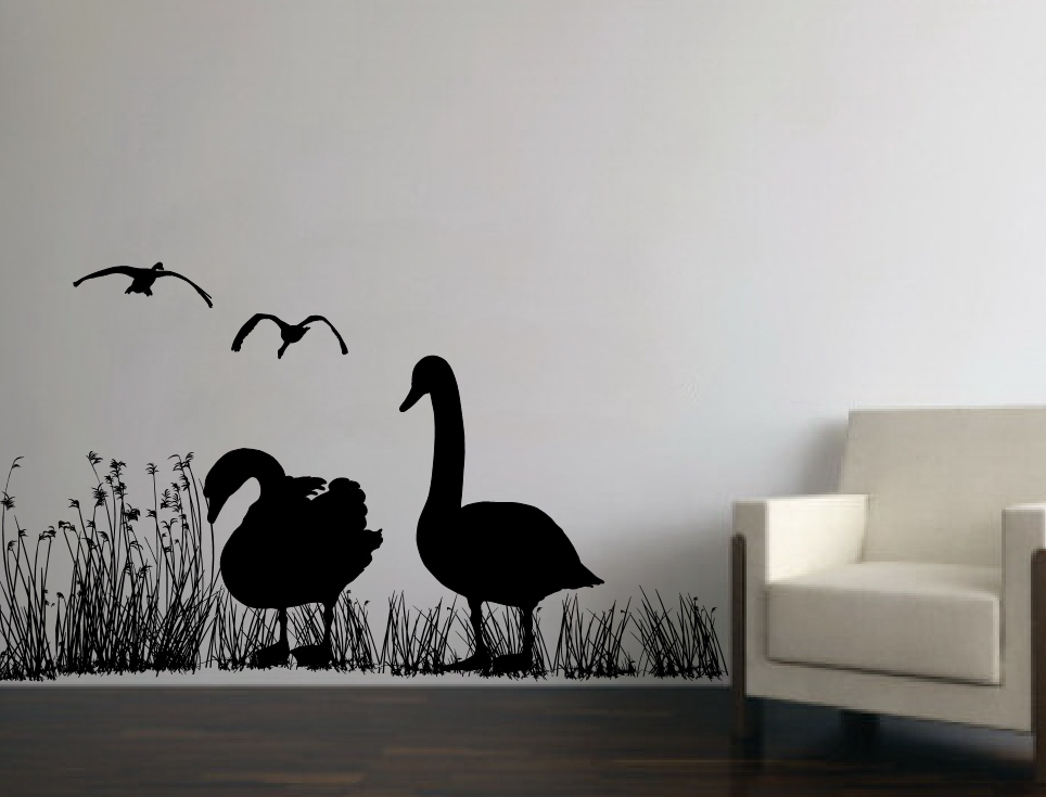 Wall Decal Geese In Reed Grasses Mural Vinyl Wall Decal 22230 on