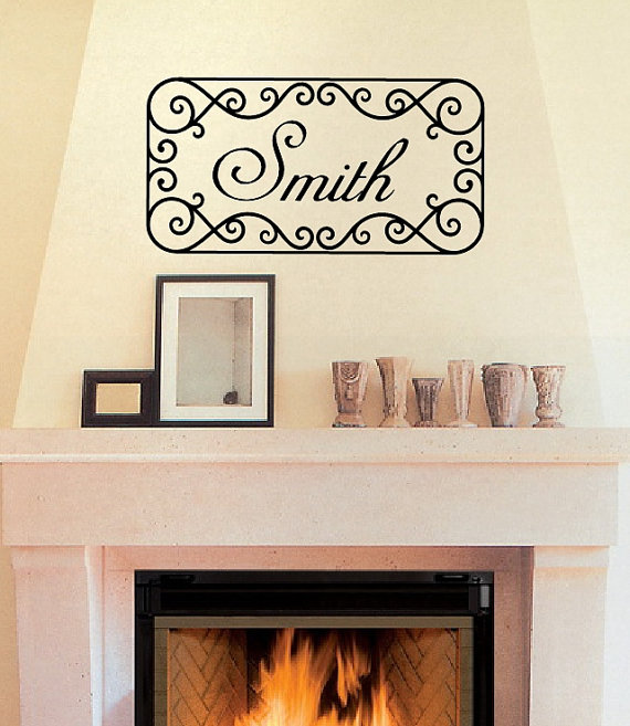 Wall Decal Personalized Family Last Name Iron Look Wall Scroll Frame Vinyl Wall Decal 22177