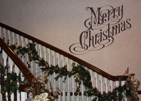 Merry Christmas Quote Wall Art Decal: Wall Decal Merry Christmas Removable Vinyl Wall Decal