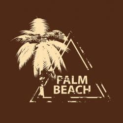 Wall Decal Palm Tree with Palm Beach Grunge Style Stamp Vinyl Wall Decal 22066