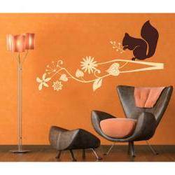 Wall Decal Tree Branch with Squirrel Woodland Vinyl Wall Decal 22122
