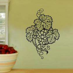 Wall Decal Grape Cluster and Leaves Vinyl Wall Decal 22123