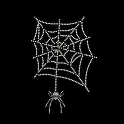 Rhinestone Transfer Spider Web with Spider Iron On Applique 34011