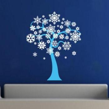 Winter Snowflakes Tree Removeable Vinyl Wall Decal 22243