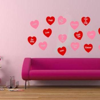 Wall Decal Conversation Hearts Set of 16 Wall Decals Valentines Day Decor Removeable Vinyl Wall Decals 22249