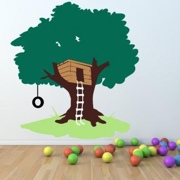 Tree House with Tire Swing Large Nursery Playroom Mural Vinyl Wall Decal 65