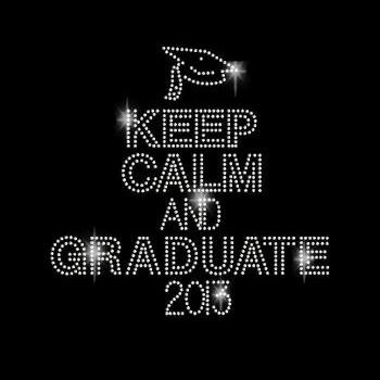 Rhinestone Transfer Keep Calm and Graduate Iron On DIY Bling 34086